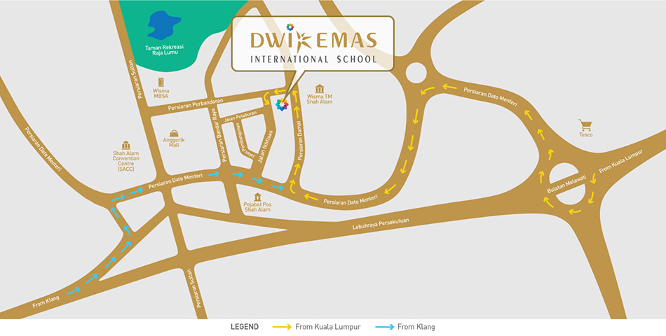 Map to Dwi Emas International School